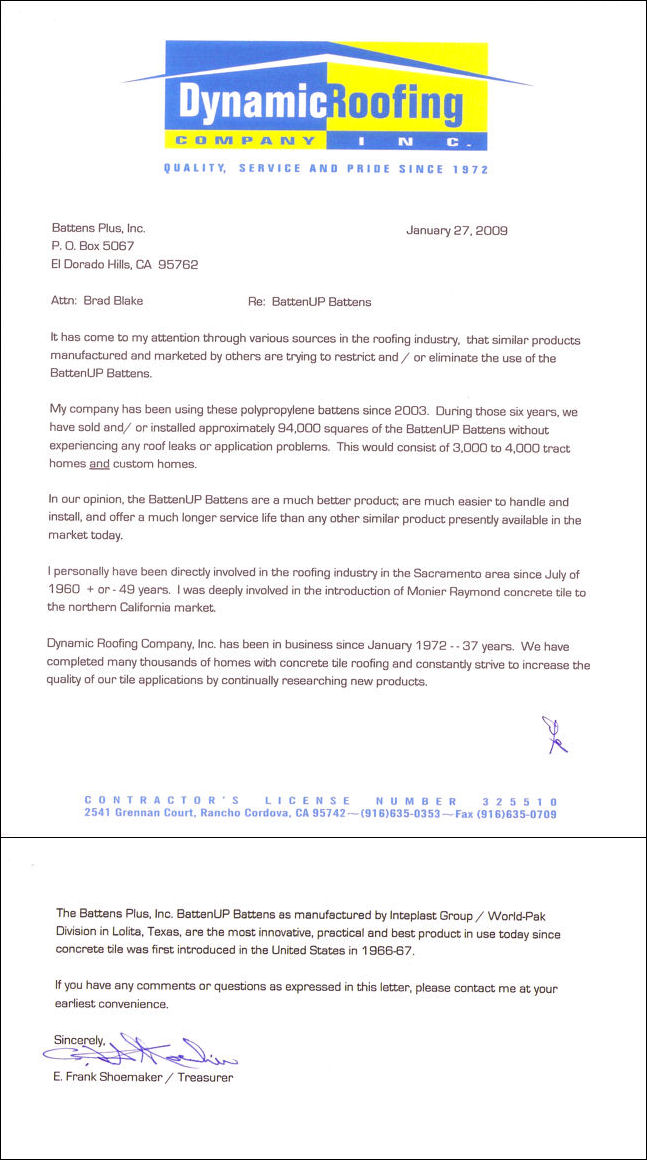 Letter from Dynamic Roofing